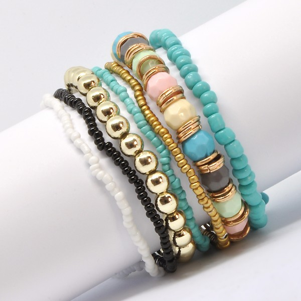 Böhmisches Multilayer Stretch-Armband türkis/himmelblau/gold 24