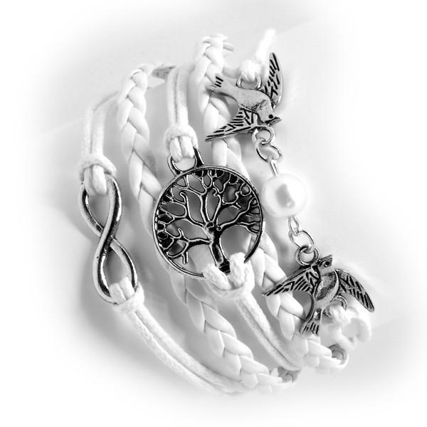 Armband cremeweiß/weiß, Motiv Lebensbaum Vögel 12