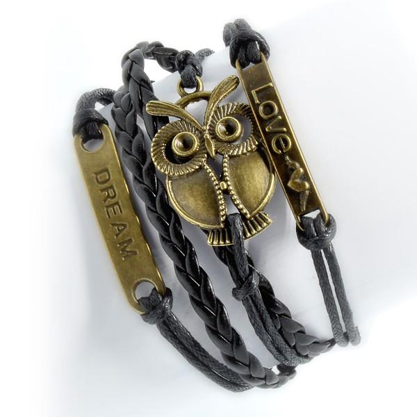 Retro-Armband schwarz bonze, Motiv Eule 2