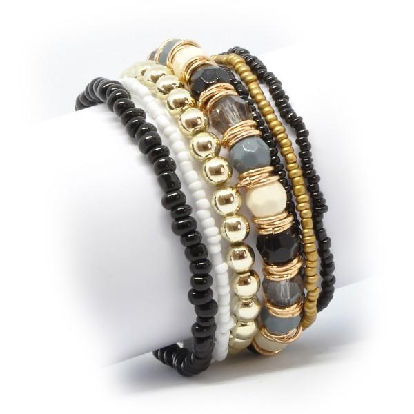 Böhmisches Multilayer Stretch-Armband schwarz/gold 21
