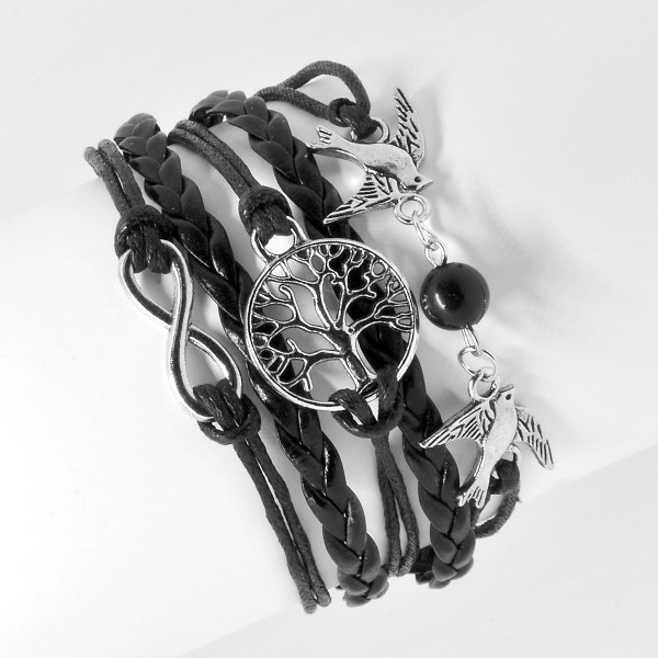 Armband schwarz, Motiv Lebensbaum Vögel 11
